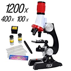 Science microscope 1200X refined scientific instruments toy set, it's quite sturdy for a starter kit and the magnification actually allows children to see quite a bit. Ideal gift to arouse children's interest to explore natural. Microscope kit contai...