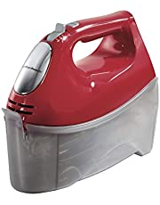 Hamilton Beach 6-Speed Electric Hand Mixer, Beaters and Whisk, with Snap-On Storage Case, Red