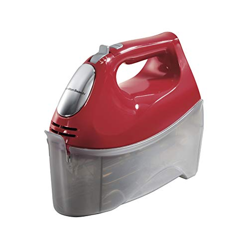 Hamilton Beach 6-Speed Electric Hand Mixer with 5 Attachments (Beaters, Dough Hooks, and Whisk), Snap-On Case (62633R), Red