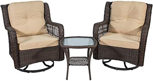 3 Pieces Patio Wicker Bistro Chairs Outdoor Swivel Rocking Chairs Glider Chair