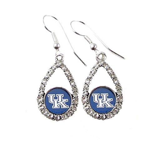 Kentucky Wildcats Blue Teardrop Clear Crystal Silver Earrings Jewelry UK