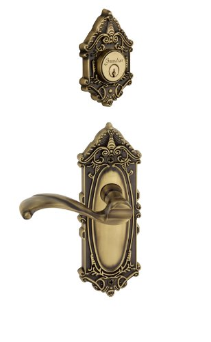 Dead Front Plate (Grandeur Grande Victorian Plate with Portofino Lever and Matching Deadbolt Complete Single Cylinder Combo Pack Set, Vintage Brass)