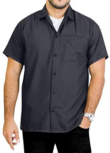 LA LEELA Rayon Casual Swimsuit Plain Camp Shirt Grey_W875 6XL | Chest 68