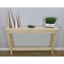 "46"" Unfinished Pine Narrow Wall, Foyer, Sofa, Console, Hall, Table With Bottom Shelf"