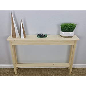 46″ Unfinished Pine Narrow Wall, Foyer, Sofa, Console, Hall, Table With Bottom Shelf
