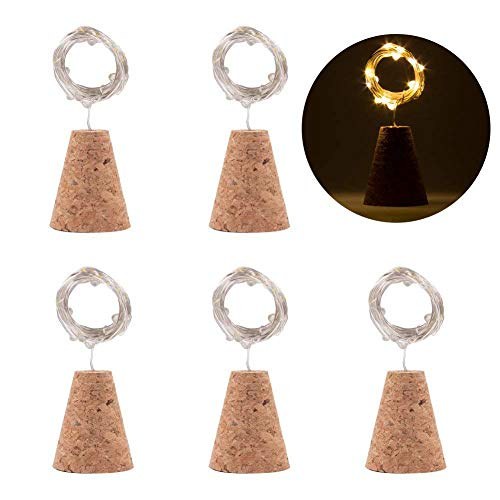 TOOGOO Wine bottle lamp natural cork base, warm white 20 LED cork lamp DIY shape copper wire string - table, party, wedding (6PCS)