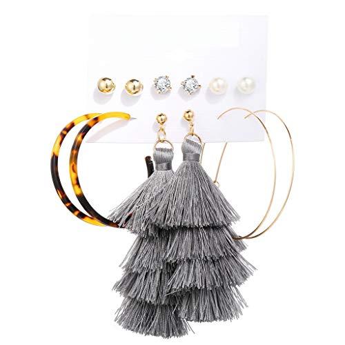 YESOT 3 pairs Womens Earring Jewelry Bohemian Pearl Acrylic Tassel Acetate Board Shell Earrings Birthday Gift (A)