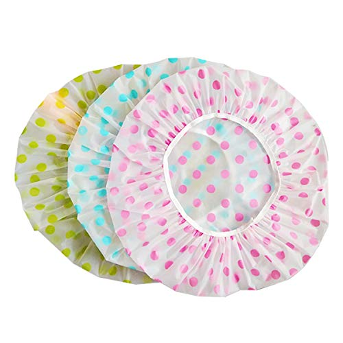 HuiYouHui 6 Pieces Waterproof EVA Plastic Caps,Elastic Reusable Bathing Hair Cap,Beauty Salon Spa Shower Caps Lace Elastic Band Flower Printed Hat Environmental Protection Hair Bath Caps Shower Caps