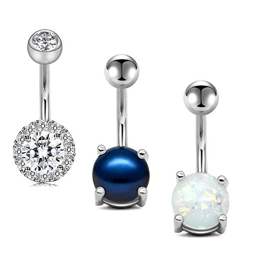 """14g 5//8/"""" Pack Of Barbell W// 5 Surgical Steel Interchangeable Top Tongue Rings"""