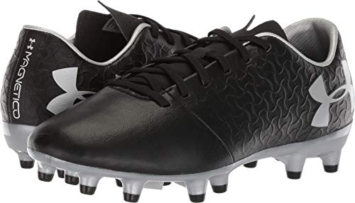 (Under Armour Magnetico Select JR FG Soccer Shoe, Black (001)/Metallic Silver, 4)