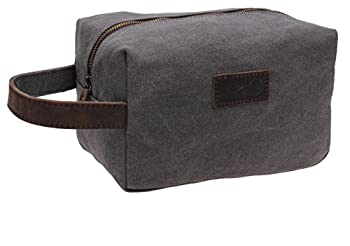 Canvas Shaving Dopp Kit Leather Travel Toiletry Bag 9.8in W-001