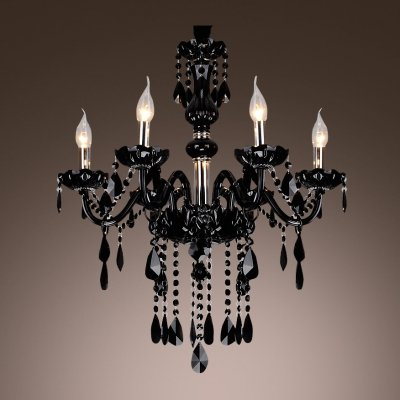 hua Mysterious Black Williamsburg Style Six Lights Chandelier Featuring Crystal Glass Framework