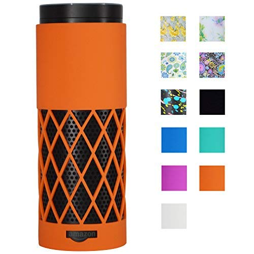 Crystal Rubber Generation Case (Auchee Silicone Case Stand Cover for Amazon Echo Speaker - 2mm Sleek Mesh Design Allow Real Sound from Echo, Impact & Drop Resistant, Precise Cutouts for Amazon Logo & Plug Hole (Orange))