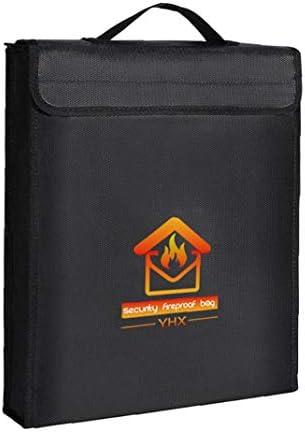 Brandwerende document zakgeld tas met handvat Zip Waterproof veilige houder voor Ipad File Pass Cash zwart