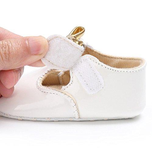 Primeros zapatos para caminar,Auxma Zapatos de Bowknot del bebé Zapatillas de deporte del niño Zapatos ocasionales de los zapatos de cuero suaves de los zapatos Blanco