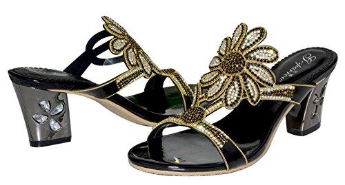 Honeystore Frauen Strass Stämmiger Absatz Sandalen Pantoffel Schuhe Schwarz