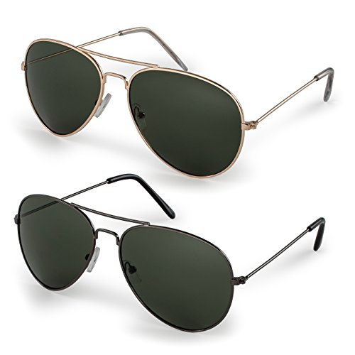 Stylle Classic Aviator Sunglasses with Protective Bag, 100% UV Protection, (2 Pairs) Gold Frame/G15 Lens + Gunmetal/G15 Lens ()