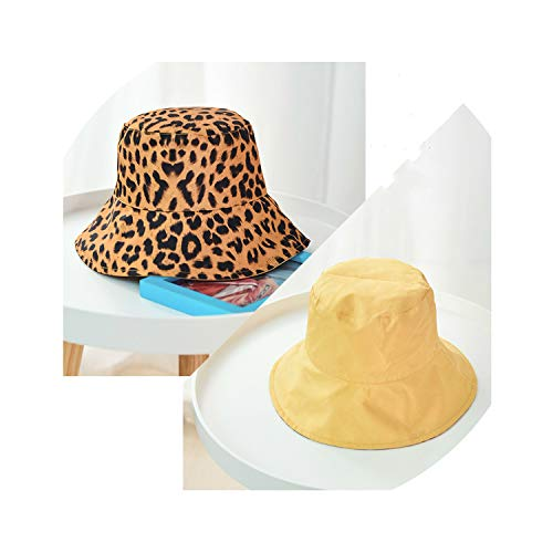 Leopard Print Bucket Hat Double-Sided Sun Protection Caps for Collapsible,Yellow,56 - Dophilus 30 Fem Caps