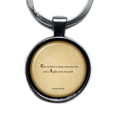Psalm 119:105 Thy Word is a Lamp unto my Feet King James Version KJV Bible Silver Keychain Keyring