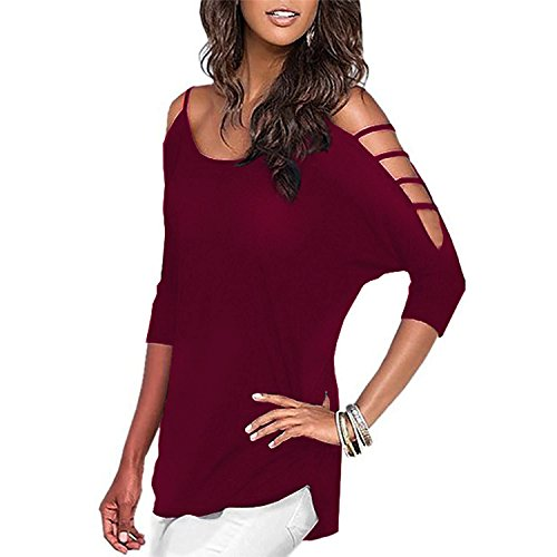 Doramode Womens 3/4 Length Sleeve Summer Cut Out Cold Shoulder Crew Neck Basic Loose Fitting Casual t Tee Shirts Tops and Blouses Tunics Wine (Ladies Tunic Length Crew T-shirt)