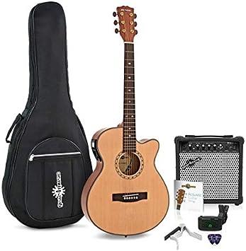 Guitarra Electroacustica Deluxe Single Cutaway + Pack de Ampli de 15W: Amazon.es: Instrumentos musicales