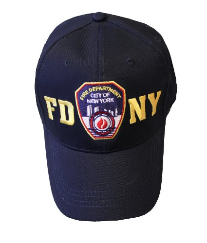 FDNY Baseball Hat Police Badge Fire Department New York City Navy & Gold O. -