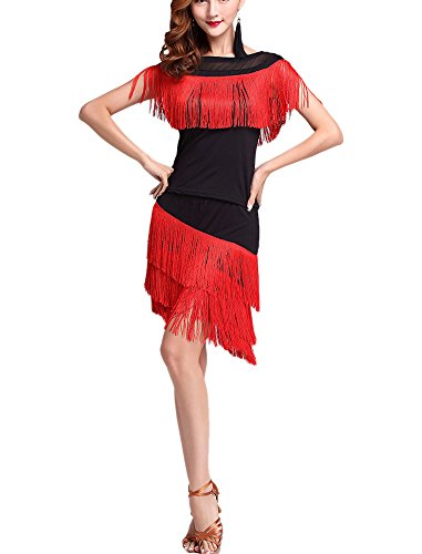 1920 Vintage Great Gatsby Dance Themed Christmas Costumes Dresses clothing Style,Black/Red,US -