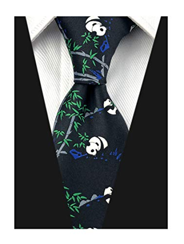 Novelty Patterned Ties for Men Cute Panda Printed Casual Satin Party Handmade Neckties (One Size, Big Panda Black)