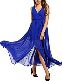 Meaneor Chiffon Maxi Wrap Dress Women Vintage V Neck Tie-Waist Split Long Dress