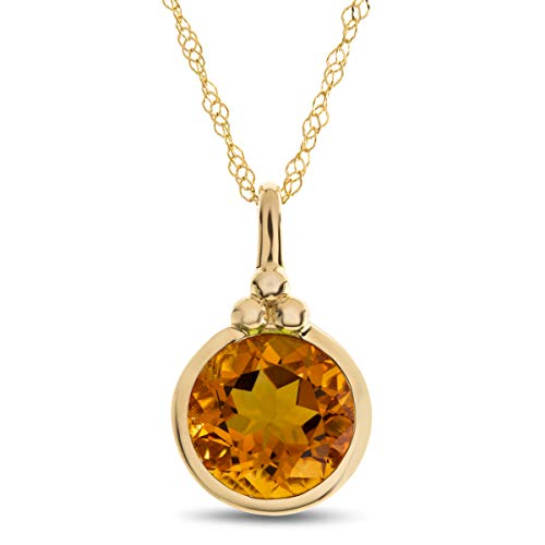 Finejewelers 8mm Round Bezel Set Citrine Pendant Necklace Chain Included 10 kt Yellow Gold ()