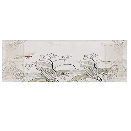 Dragonfly Dustproof Electric Oven Cover,Curled Nature Branches Leaves Lake Coast Abstract Floral Shabby Chic Pattern Cover for Kitchen,36