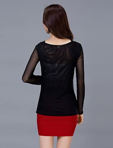 Mujer Camisa Blusa elegante mujer Blusa – Camiseta de mujer – Camiseta de mujer – Perlas bes etzt/rejilla algodón/Elastano manga larga U de pico, color Negro - negro, tamaño XXL: Amazon.es: Deportes