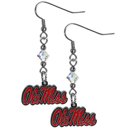 Siskiyou NCAA Mississippi Old Miss Rebels Crystal Dangle Earrings