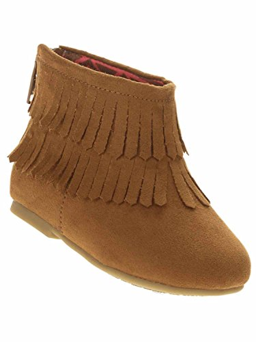 Garanimals Toddler Girls Brown Fringe Suede Look Ankle Boots Dress Shoes 6