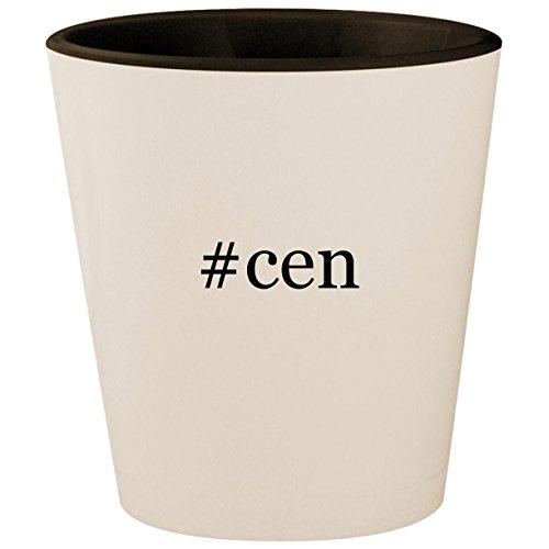 #cen - Hashtag White Outer & Black Inner Ceramic 1.5oz Shot Glass
