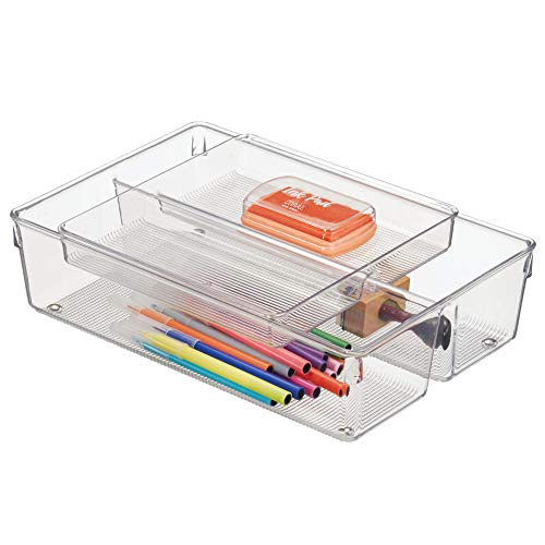 and Crafts Stackable Drawer Organizer & Tray for Markers, Scissors, Colored Pencils - Set of 2, Clear ()