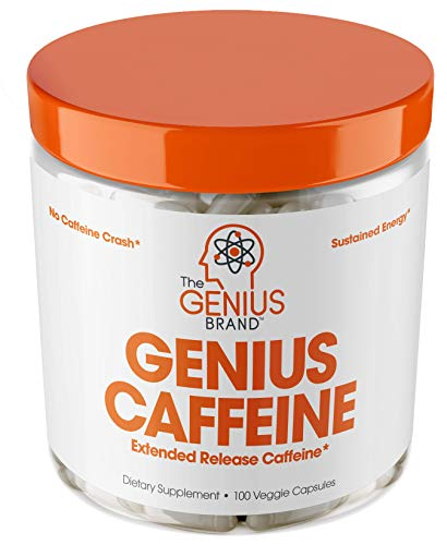 GENIUS CAFFEINE - Extended Release Microencapsulated Caffeine Pills, All Natural Non-Crash Sustained Energy & Focus Supplement -Preworkout & Nootropic Brain Booster For Men & Women,100 veggie capsules ()