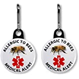 ALLERGIC TO BEES 2-Pack 1 inch Zipper Pull Charms