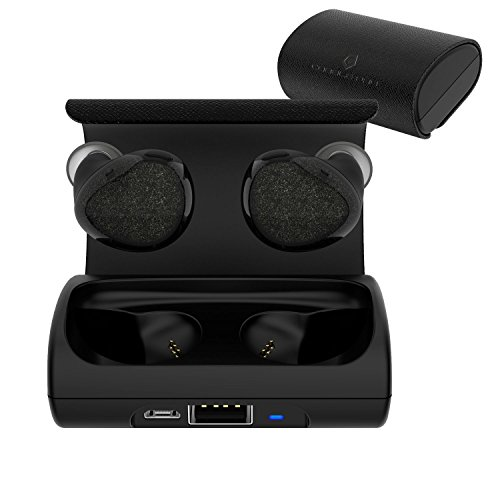 Cobble Pro Bluetooth Headset V4.1 True Wireless Earbuds In-Ear Earphones Mini Twins Headphone with Mic & Charging Carrying Case Noise Cancelling & Sweatproof for Apple iPhone 7/X/8 Plus/S9/S9+, Black