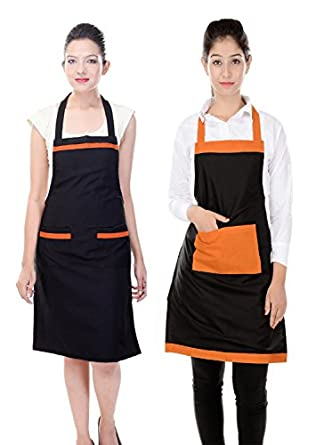 Switchon Women's Polyester Kitchen Apron (Black) - Pack of 2