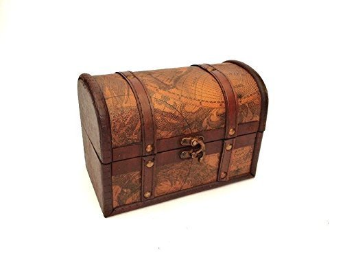 Treasure Chest Vintage Colonial Map Atlas Design Storage Trunk Wedding Post Box