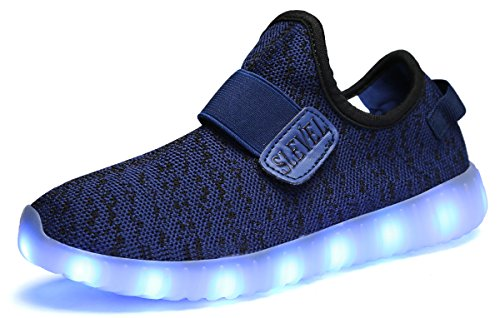 SLEVEL Breathable LED Light up Shoes Flashing Sneakers for Kids Boys Girls(S33BlueBlack30)