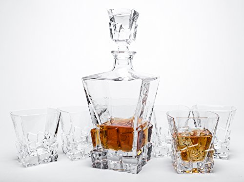 Finest Crystal Glass - Finest Whiskey Decanter Set with Six Crystal Glass Tumblers