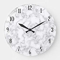 Moonluna Marble Pattern Gray White Marbled Stone Background Wall Clock Decorative Small Silent Non-Ticking Wooden Clock 10 inches