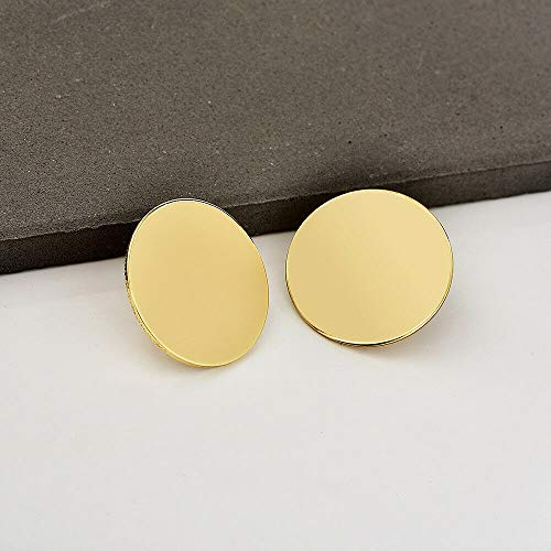 Simple Large Gold Round Ear Stud Drop Dangle Hook Earrings Women Fashion - Illusions Bridal Tiara