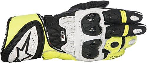 Alpinestars 3556517125XL GP Plus R Leather Gloves (Black/White/Yellow, X-Large)