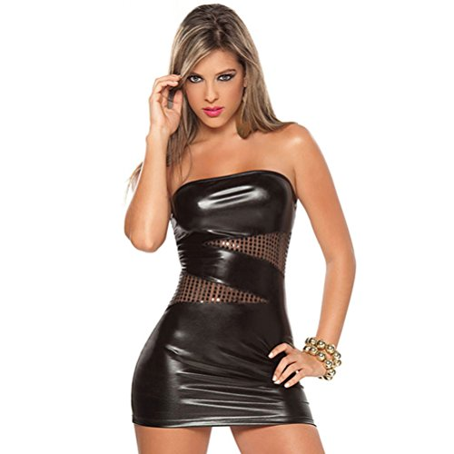 elepbaba Women Sleeveless Sexy Patent Leather Bodycon Strapless Lure Clubwear Party Black