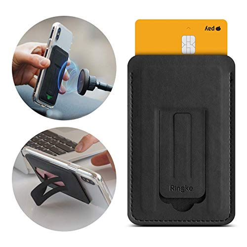 Ringke Multi Card Holder 3-in-1 Magnetic Phone Stand for Smartphone Adhesive PU Leather Slim Mini Wallet Credit Card Sleeve Attachment