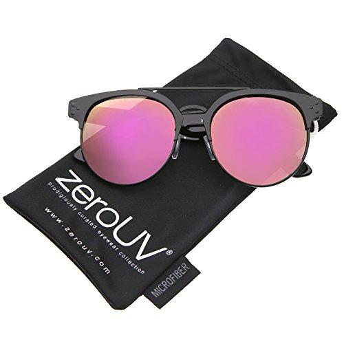 zeroUV - Modern Horn Rimmed Brow Bar Colored Mirror Round Aviator Sunglasses 54mm (Black-Black / Magenta - Sunglasses Bar Round With Brow
