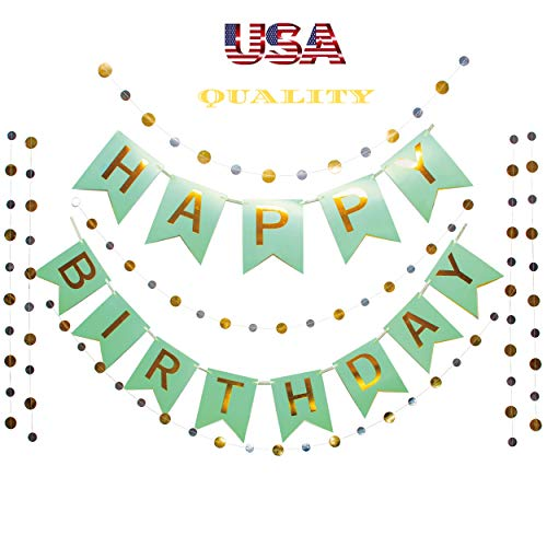 Otyland Birthday Decorations Assembled Happy Birthday Banner&24 Gold/Silver Dots Garland Kit Party Supplies Green Bday Set All Ages Baby/Toddler/Kids/Teenagers/Boy/Girl/Adult/Men/Women Bday Decoration